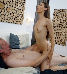 Slim babe Stefanie fucked by older man