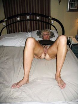 Granny in crotchless knickers..