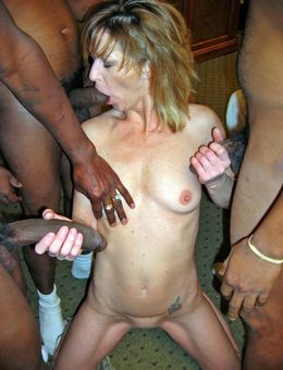 White mature wife takes three black..