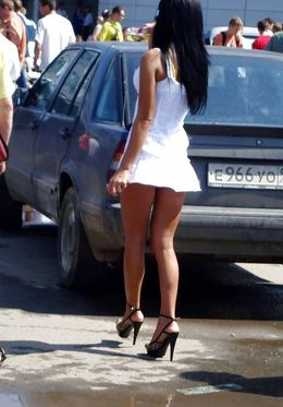 Sexy women in short dresses in voyeur..