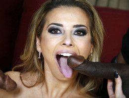 Slim whore Alana Luv happy to suck two..