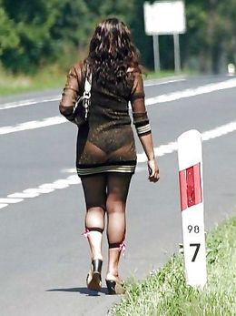 European hookers in very short skirts..