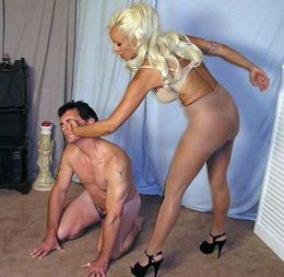Blonde wife in stockings slaps husband..