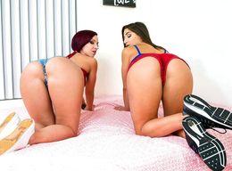 Lesbians Abella and Jada slide shorts..