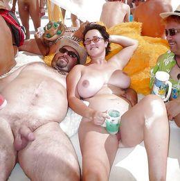 The mature nudist, public beach handjob