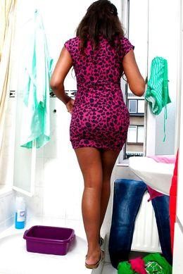 Busty ebony woman Anouk flashing her..