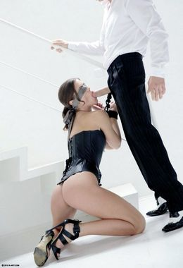 Blindfolded and bound Caprice in..