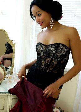 Asian pin up model Petra removes black..